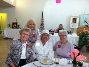 Karen behind Ginny then Geri and Phyllis with Cathy Pena and Carol Marquardt in the background sitting at the head table