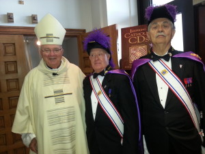 Bishop Lynch with KofC after Mass at Christ the King Catholic Church